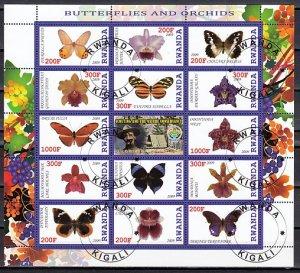 Rwanda, 2009 issue. Butterflies & Orchids sheet. Scout Label. C.T.O.^
