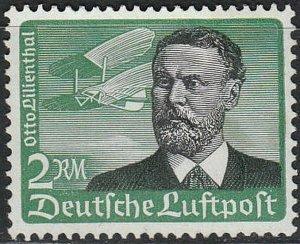 Stamp Germany Mi 538x Sc C55 1934 War Fascism Airmail Flugpost Lilienthal MNH