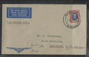 SOUTHERN RHODESIA  COVER  (P1002BB)  KGV 1934 10D ON FLIGHT COVER TO QUELIMANE