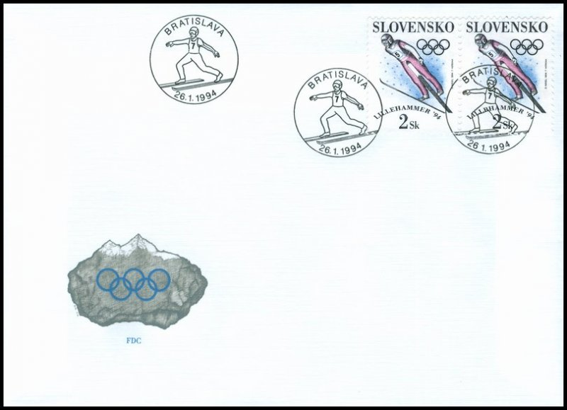 Slovakia 1994 FDC 26 XVIIth Winter Olympic Games Lillehammer 94