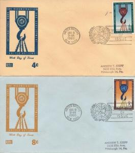 UN #86-87 RECONSTRUCTION FDC 1960 - Kolor Kover set of 2