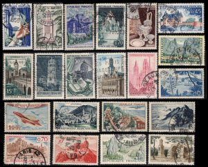 FRANCE NICE SMALL LOT OF 21 DIFFERENT OLDER PICTORIALS FINE/VF USED STAMPS