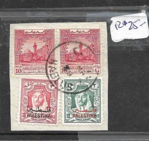 JORDAN PALESTINE (P1004B) PIECE FROM NABLUS WITH 4 STAMPS, 2 PALESTINE  VFU