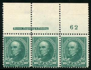 UNITED STATES SC#273 PLATE STRIP OF 3 MINT NEVER HINGED TOP PLATE #62 IMPRINT 1