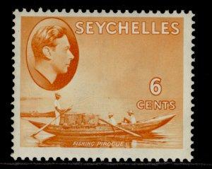 SEYCHELLES GVI SG137, 6c orange, M MINT. Cat £17.