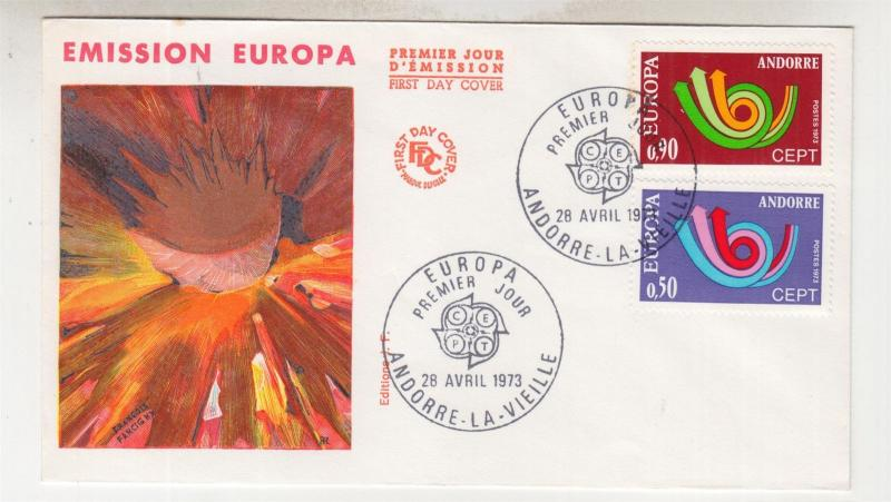 ANDORRA, 1973 EUROPA pair on unaddressed fdc.