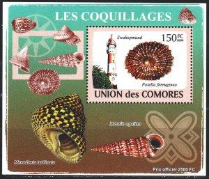Comoro Islands. 2009. bl 2087. Lighthouse, seashells. MNH.