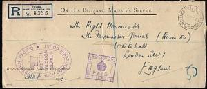 SOLOMON IS 1923 Official reg cover ex Tulagi, Court frank..................18289
