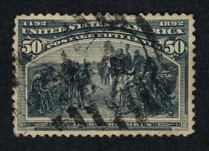 AFFORDABLE GENUINE SCOTT #240 USED 1893 SLATE BLUE 50¢ COLUMBIAN EXPO ISSUE