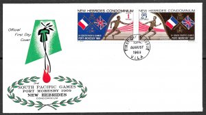 NEW HEBRIDES BRITISH 1969 South Pacific Games Set Sc 133-134 Cachet FDC