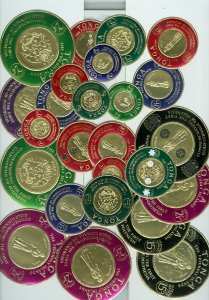TONGA LOT of 25 GOLD FOILED COIN TYPES