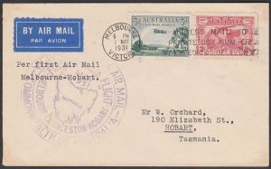 AUSTRALIA 1931 first flight cover Melbourne to Hobart, Tasmania.............N546
