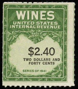 01689 U.S. Revenue Scott RE153 $2.40 wine stamp, MNH