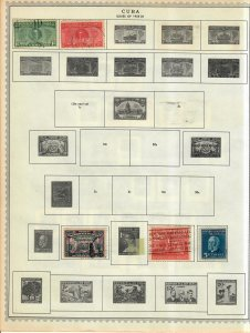 Cuba Stamp Collection On Album Pages Mixed Condition Lot