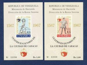 VENEZUELA - Scott 952a & 953a - FVF MNH S/S - Caracas - 1967
