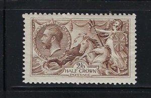 GREAT BRITAIN SCOTT #179  1919 2/6 SHILLING- RETOUCHED SEAHORSE- MINT LH