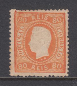 Portugal Sc 30 MNG. 1869 80r King Luiz, few short perfs o/w F-VF