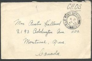 CANADA 1943 WW2 active service cover FIELD PO 527..........................64352