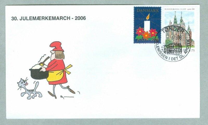 Denmark. Cover Cachet Cat,Santa. # 30  Christmas Seals Walk 2006. Tonder.