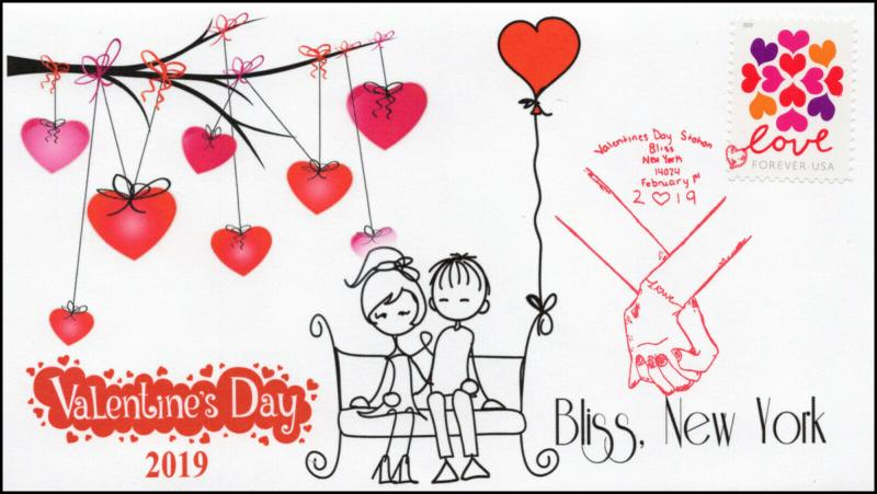 19-0010, 2019, Valentines Day, Pictorial Postmark, Event,  Bliss NY