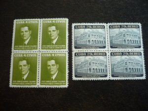 Stamps - Cuba - Scott#592,C179 - Mint Hinged Set of 2 Stamps in Blocks of 4