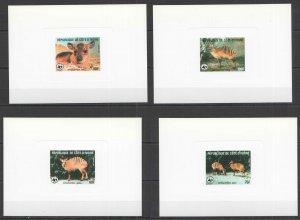 F0401 1985 IVORY COAST WWF WILD ANIMALS ZEBRAS !!! RARE CARDBOARD 4BL MNH