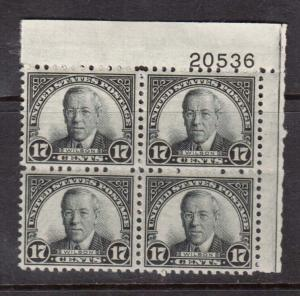 USA #697 VF Mint Plate Block
