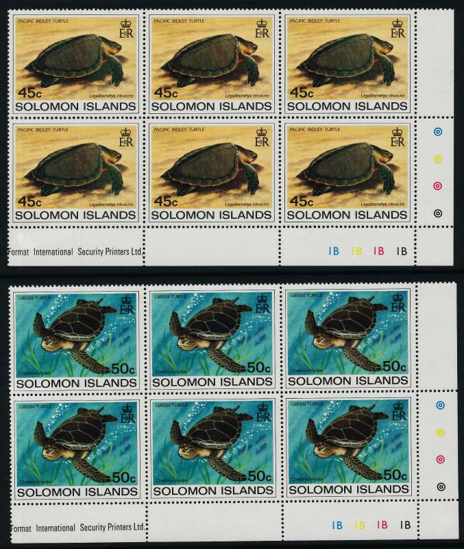 Solomon Islands 489-92 BR Plate Blocks of 6 MNH Turtles