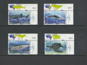 THAILAND: 2019 N I  / **Beautiful WWF-MARINE LIFE  **/ Set of 4 Only /  MNH.