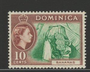 Dominica 1957 Queen Elizabeth II & Bananas 10c Scott # 159 MH