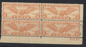 C19 6c Airmail MNH Plate Block of 4 VF Centering