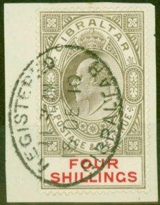 Gibraltar 1910 4s Black & Carmine SG73 Very Fine Used Reg Cancel on Small Piece