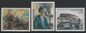 1985 Faroe Islands - Sc 127-9 - MNH VF - 3 single -Paintings from Faroese Museum