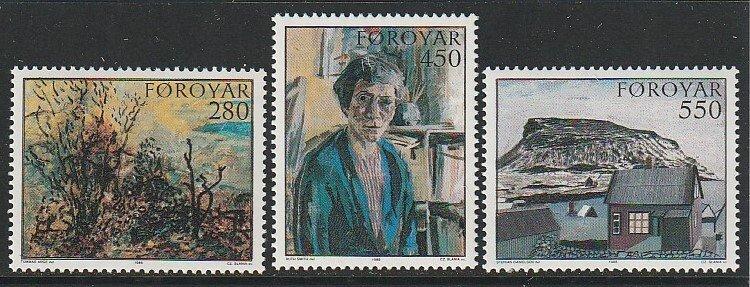 1985 Faroe Islands - Sc 127-9 - MNH VF - 3 single -Paintings from Faroese Museum