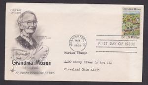1370 Grandma Moses ArtCraft FDC with typewritten address