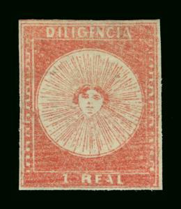 URUGUAY 1856 DILIGENCIAS 1r red - Pos. 24 - Scott # 3 mint MH  XF stamp - Scarce