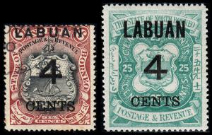 Labuan Scott 88, 93 (1899) Used/Mint H F-VF, CV $29.75 B