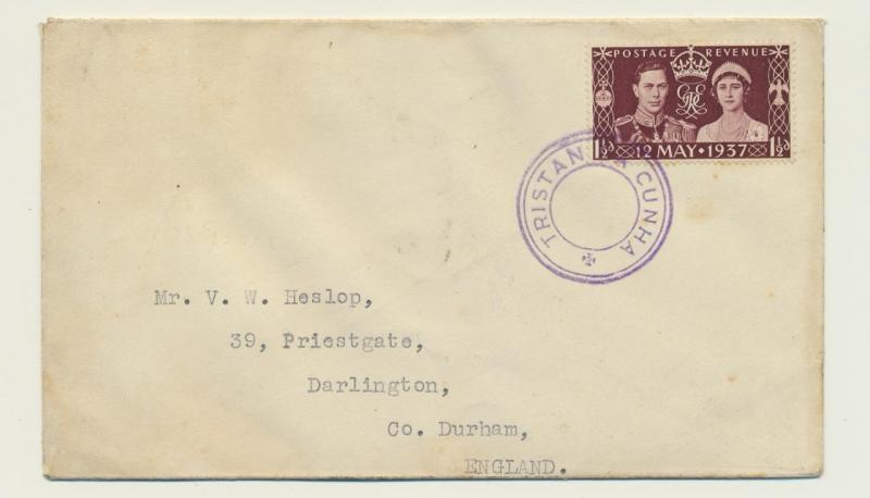 TRISTAN DA CUNHA 1937 CORONATION 1½d ON COVER TO UK, C9 CACHE SIGNED(SEE BELOW