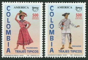 Colombia 1129-1130,MNH.Michel 2038-2039. UPAEP-1996. Man's & woman's costume.