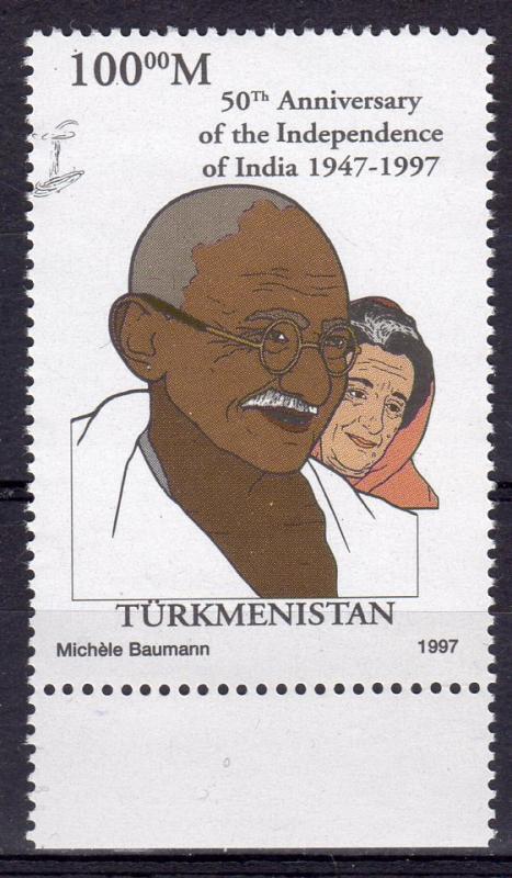 Turkmenistan 1997 YT#60a GANDHI (1)  fluorescent paper perforated MNH