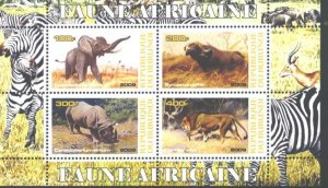 Burundi 2009 Africa Wild Animals Mammal Fauna Lion Elephant Rhinocero Stamps (2)