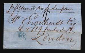 Puerto Rico 1868 British PO Stampless Cover to London - Z17317