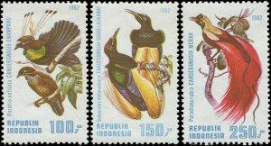 Indonesia 1982 Sc 1182-1184 Bird of Paradise CV $8.50