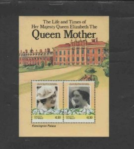 TUVALU-NUKUFETAU #48 1985 QUEEN MOTHER 85TH BIRTH MINT VF NH O.G S/S