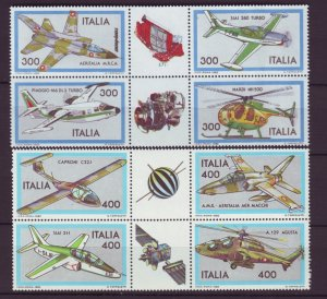 Z533 Jlstamps 1982 &b 3 italy sets blk,s 4 mnh #1505-8,1550-53 airplanes