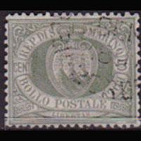 SAN MARINO 1892 - Scott# 5 Arms 5c Used