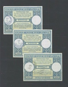 JASTAMPS: 3 INTERNATIONAL RESPONSE COUPONS USED PHILIPPINES 30 CENTAVOS