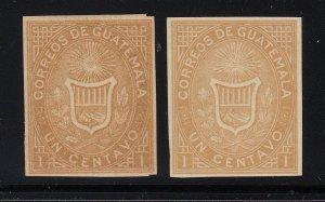 Guatemala 1871 1c Ocher Imperf x 2 shades VLM Mint. Scott 1a