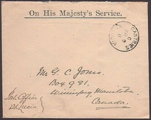 ST LUCIA 1911 Small OHMS cover to Canada - Castries cds....................35698