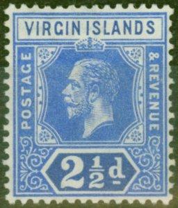 British Virgin Is 1913 2 1/2d Brt Blue SG72 V.F Very Lightly Mtd Mint